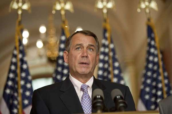 Republican House Speaker John Boehner holds a press