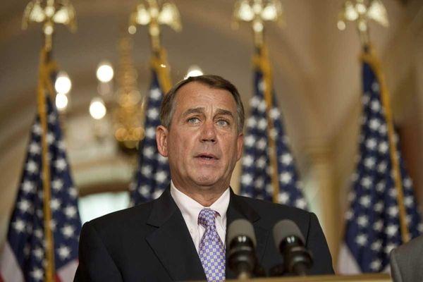 Republican House Speaker John Boehner holds a press