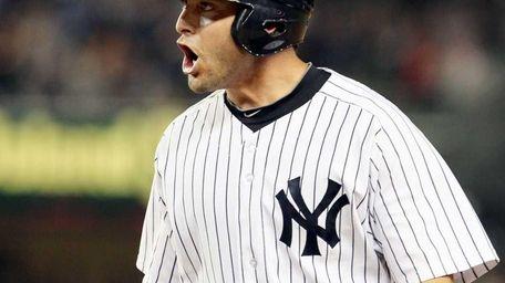 Francisco Cervelli of the New York Yankees celebrates