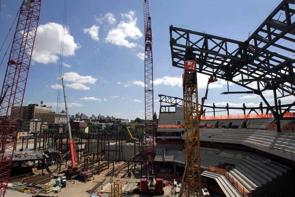 Construction continues on the Barclays Center in the