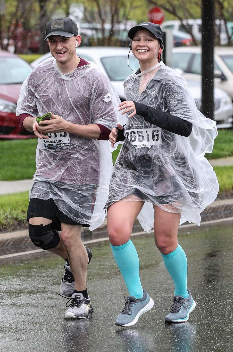 Runners weather the rain at the Long Island