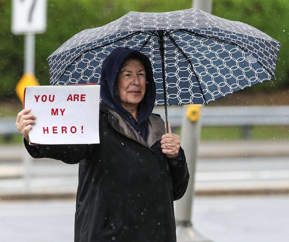Angela Scaturro stands along Merrick Avenue in East