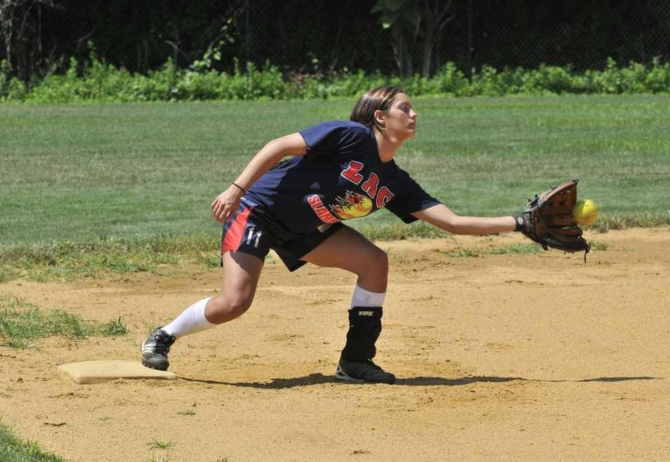 Sabrina Gordek catches a ball during practice at