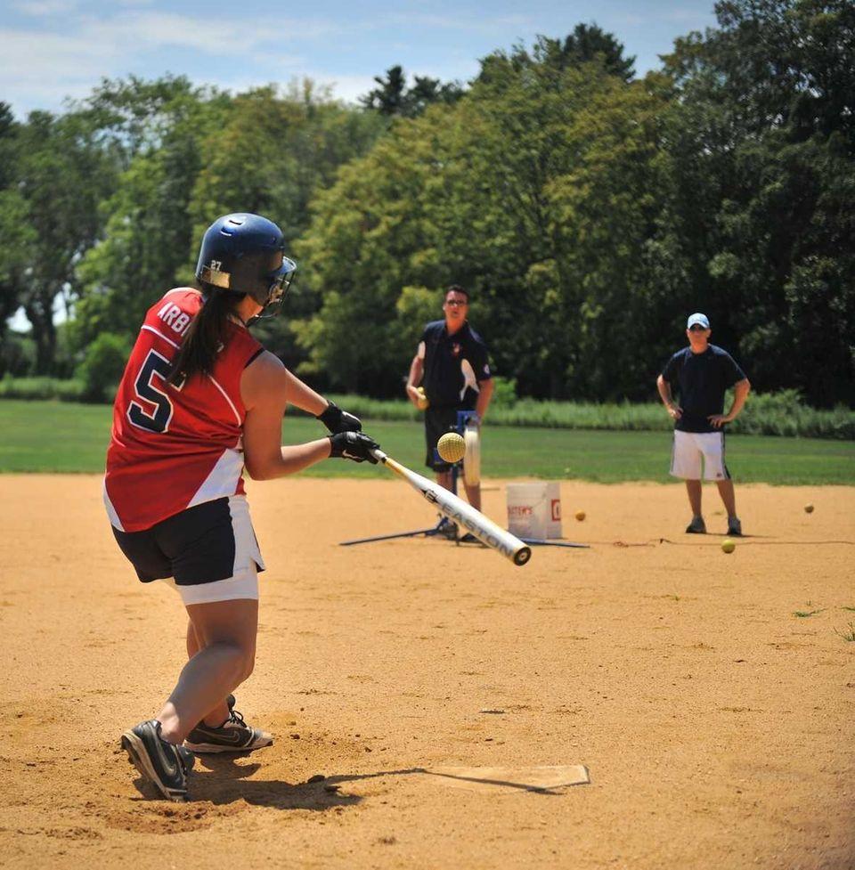 Jennifer Arbiter gets in batting practice at Charles
