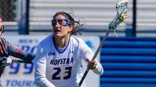 Hofstra's Alexa Mattera advances the ball against Sacred