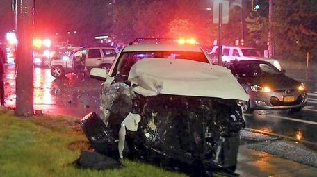 The crash scene in Selden on Sunday. The