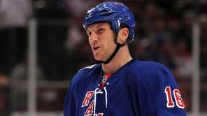 Sean Avery of the New York Rangers looks