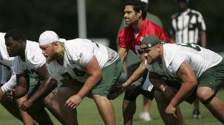New York Jets quarterback Mark Sanchez takes the