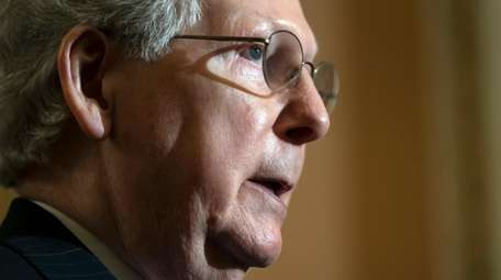 Senate Majority Leader Mitch McConnell (R-Ky.) speaks to