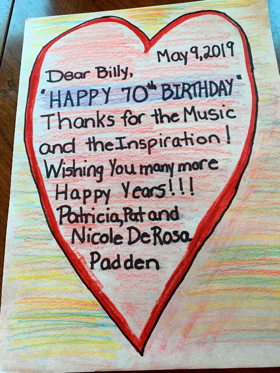 A handwritten birthday note for Billy Joel from