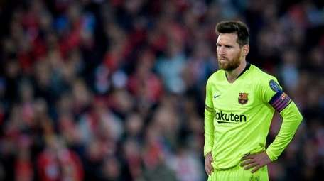 Barcelona's Lionel Messi reacts during the UEFA Champions