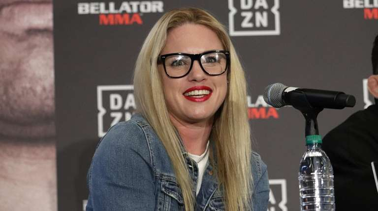 Heather Hardy appears at a Bellator MMA news