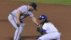 Jose Reyes safely steals second base in the