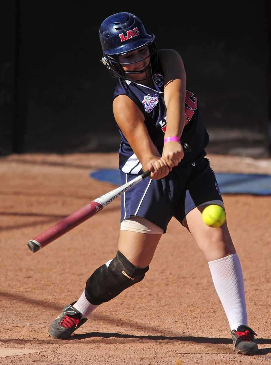 Levittown's Samantha Basile hammers out an RBI triple