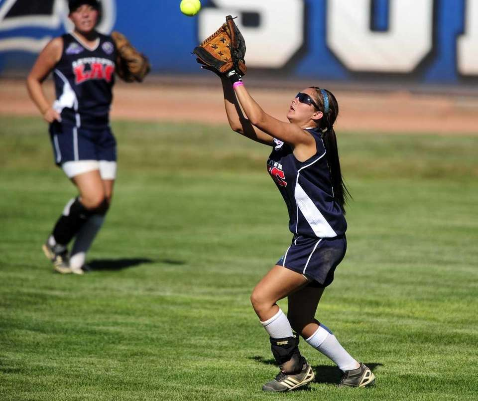 Levittown center fielder Sabrina Gordek grabs a fly