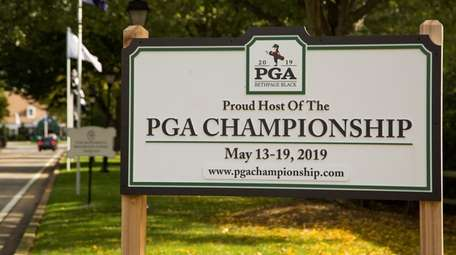 A sign for the PGA Championship at Bethpage