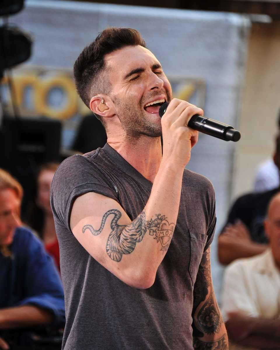 Singer Adam Levine of Maroon 5 performs on