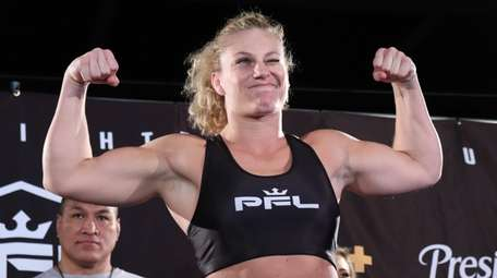 PFL lightweight Kayla Harrison appears at the ceremonial
