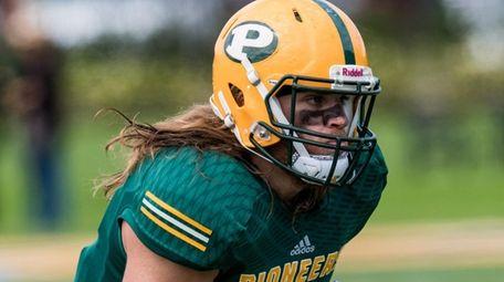 LIU Post Pioneers defensive back Jake Carlock plays