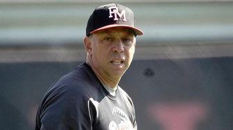 ]Patchogue-Medford head baseball coach Tony Frascogna before a