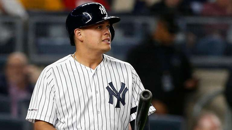 Gio Urshela of the Yankees looks on as