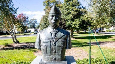 A bronze bust of Garfield Langhorn at Riverhead