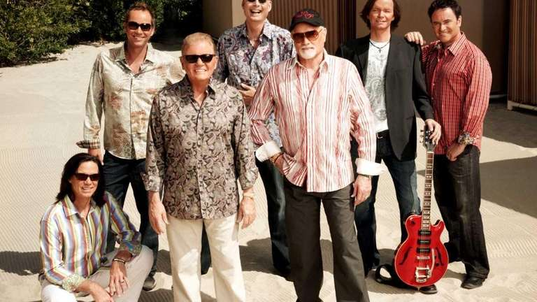 The Beach Boys, from left, who are touring