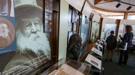 The permanent exhibition wall at the Walt Whitman