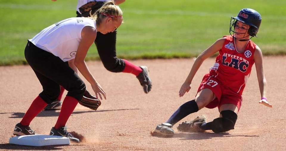 Levittown's Meghan Acton slides safely into second with
