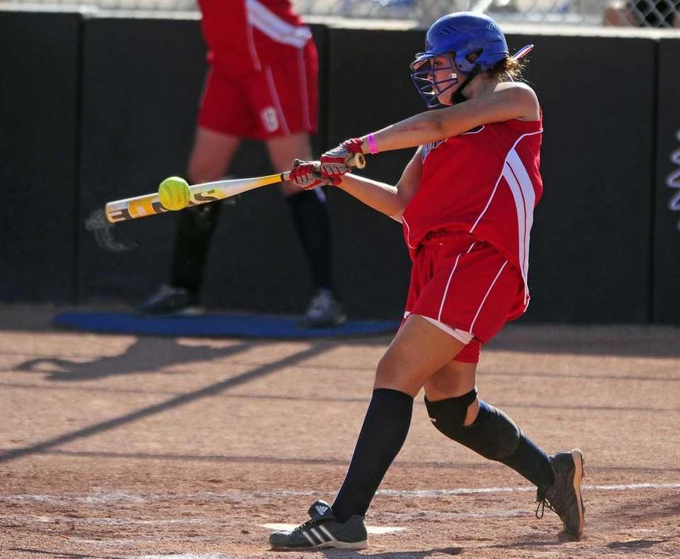 Levittown's Danielle Fogarty fouls off a pitch in