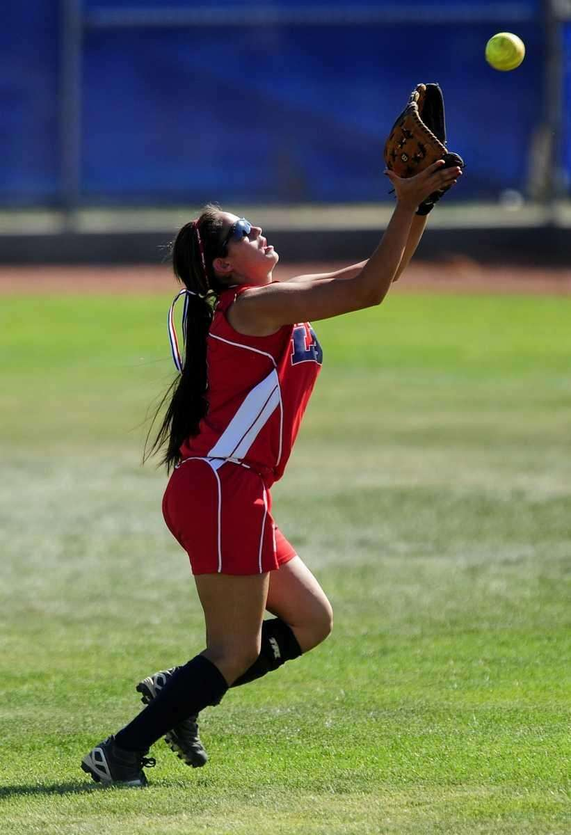 Levittown's Sabrina Gordek makes a catch in center