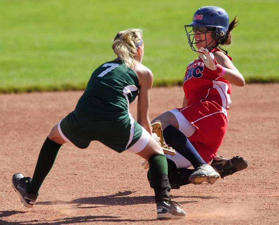 Levittown's ToniAnn Pasqueralle is out stealing against shortstop