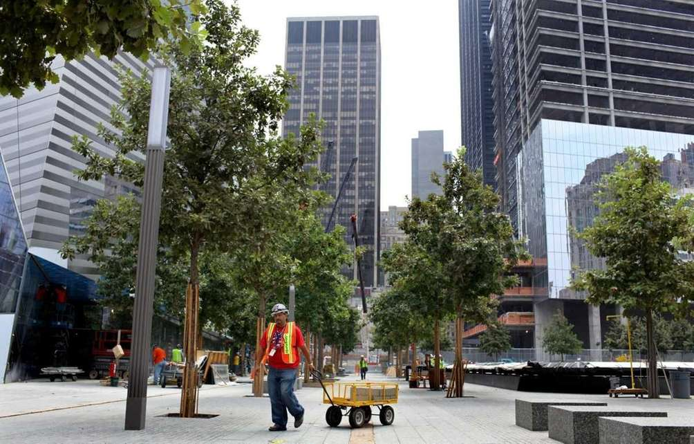 Construction progresses at the 9/11 Memorial Plaza and