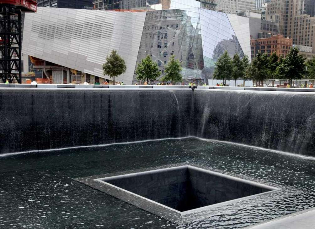 The waterfall of the North Tower reflecting pool