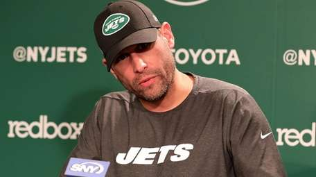 Jets head coach Adam Gase speaks to media