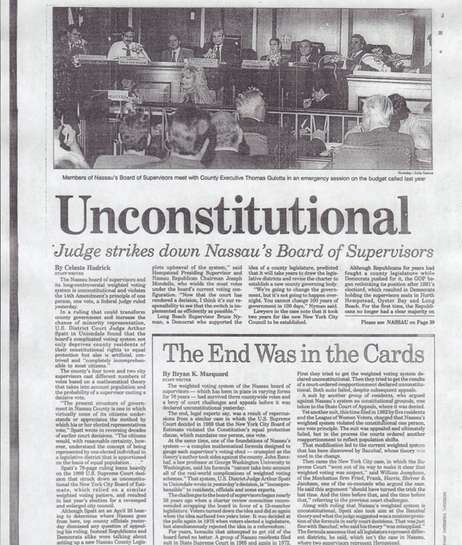 Judge Arthur Spatt declared Nassau's form of government