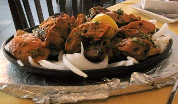 Chooza kebab, tender chunks of dark-meat chicken, was