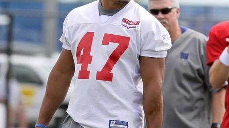 Giants TE Travis Beckum at the Giants training