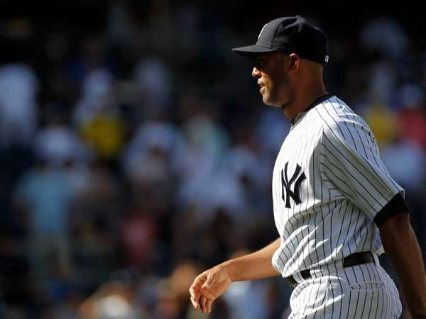 New York Yankees' Mariano Rivera #42 leaves the