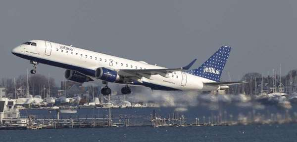 A JetBlue aircraft takes off at Boston's Logan