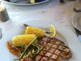 Wood-grilled swordfish at TR Restaurant & Bar in