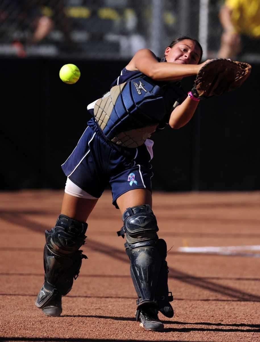 Levittown catcher Kristen Arbiter can't grab a foul