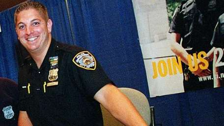 The body of NYPD officer Patrick Luca, seen
