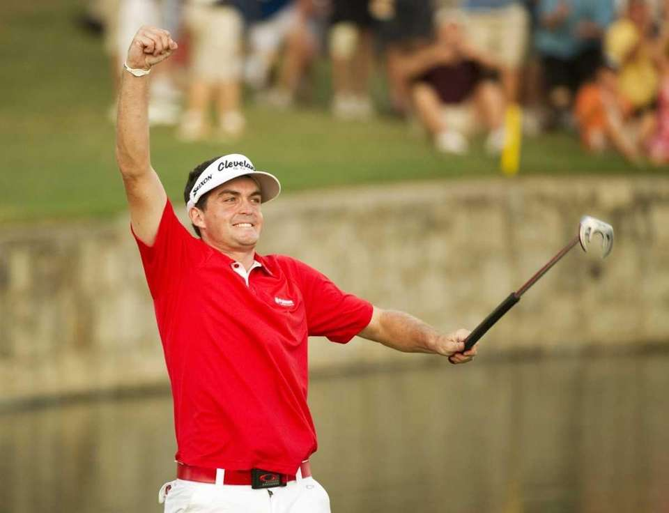 Keegan Bradley of the US celebrates his play-off