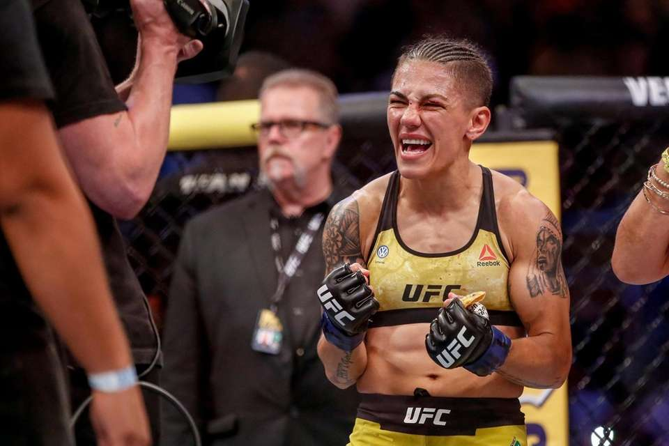 Jessica Andrade of Brazil celebrates after her knockout