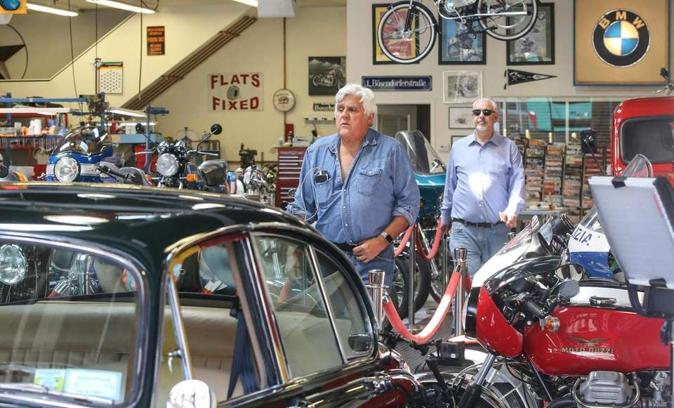 Television personality Jay Leno visits 20th Century Cycles,