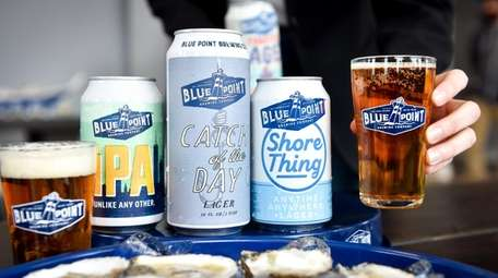 A selection of beers and oysters at Blue