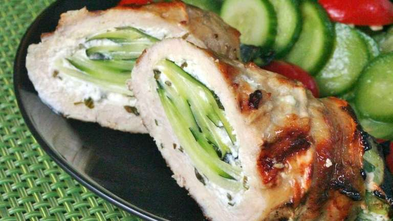 Zucchini and goat cheese stuffed chicken breast, one