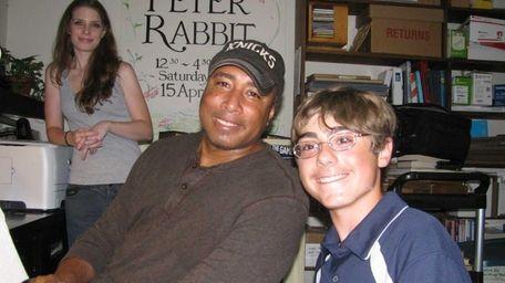 Kidsday reporter Charles Beers with former Yankee Bernie