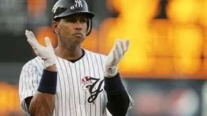 New York Yankees third baseman Alex Rodriguez claps